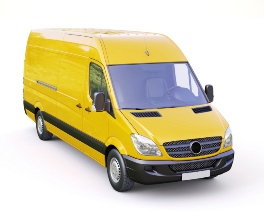 yellow delivery van