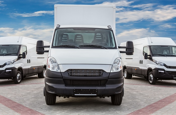 White Commercial Vehicles Ready For Action